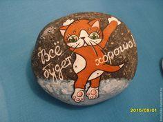 Купить Сувенирный камень - рыжий, котик, кот, котенок, сувенир, прикольный подарок, прикольный, подарок