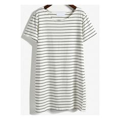 SheIn(sheinside) White Short Sleeve Striped Loose T-Shirt Dress ($12) ❤ liked on Polyvore featuring dresses, sheinside, tops, black and white, white summer dresses, white t shirt dress, striped t shirt dress, t shirt dress e shift dress