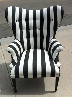 I have an unhealthy obsession with black and white.Black and White Striped Chair by poeticrockstar on Etsy Funky Furniture, Home Furniture, Office Furniture, Striped Furniture, Apartment Furniture, Paint Furniture, Black And White Chair, Black White, White Chairs