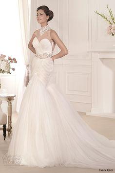 tarik ediz 2014 bridal collection illusion neckline sweetheart fit and flare wedding dress 1 begonvil g1106