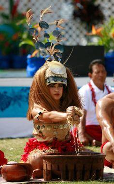 Samoan Heritage Week Samoan Taupou performing customary Kava Bowl Ceremony