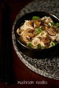 mushroom noodles recipe, how to make mushroom noodles recipe