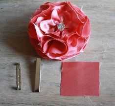 DIY Clip Hair for Girls : DIY Fabric Flower Hair Clip with Brooch Pin