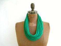 Emerald Green T Shirt Necklace / Long Short Choker / by ohzie