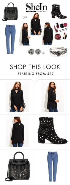 """""""Black Cut Out Asymmetrical Swing T-shirt"""" by justjacy ❤ liked on Polyvore featuring Laurence Dacade, Alexander McQueen, contestentry and shein"""