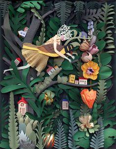 紙を切り重ねてつくる美しいペーパークラフトアート「Cut-paper sculptures and illustrations by Elsa Mora」