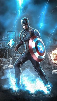 Captain America with Thor Hammer iPhone Wallpaper - iPhone Wallpapers - Marvel Universe Iron Man Avengers, Marvel Avengers, Marvel Comics Superheroes, Marvel Art, Marvel Characters, Marvel Heroes, Iron Man Wallpaper, Marvel Captain America, Captain America Wallpaper