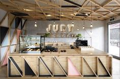 Renovated Prison Cafes - The Jury Cafe Boasts Sustainable Design Details and Vivid Signage (GALLERY) Design Studio, Bar Design, Coffee Shop Design, Store Design, Counter Design, Cafe Bar, Cafe Restaurant, Restaurant Design, Restaurant Counter