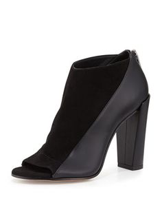 Bayard+Two-Tone+Leather+Open-Toe+Bootie,+Black+by+Vince+at+Neiman+Marcus.
