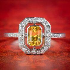 Art Deco Style Yellow Sapphire Diamond Cluster Ring Sapphire Rings, Diamond Cluster Ring, Diamond Clarity, Sapphire Diamond, All Gems, Art Deco Period, Art Deco Fashion, Diamond Cuts, Gemstones