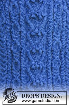 Ravelry: Swirling Water pattern by DROPS design Cable Knitting Patterns, Knitting Stitches, Knitting Designs, Free Knitting, Knitting Projects, Baby Knitting, Drops Design, Double Seed Stitch, Garnstudio Drops