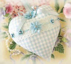 Heart Pillow 6X6 Door Hanger Aqua Check Decor por CharlotteStyle