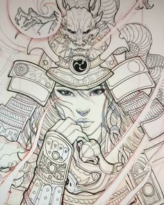 "6,900 Likes, 66 Comments - David Hoang (@davidhoangtattoo) on Instagram: ""Female samurai sketch. #sketch #illustration#drawing #irezumi #tattoo #asiantattoo#asianink…"""