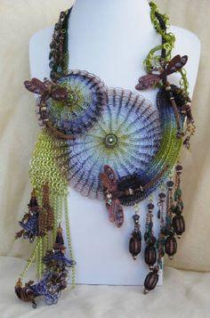 Beyond the Garden Vortez... Jewelry designed by Stephanie Eddy using the Lazee Daizee Viking Knit tools.