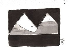 Pyramidas No. 4  Ink Drawing on Paper by mellonfineart on Etsy, $50.00