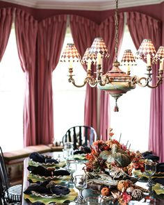Thanksgiving Tablescape | MacKenzie-Childs Farmhouse in Aurora, NY set for the perfect autumn feast! Pheasant Run, Girl Cave, Thanksgiving Tablescapes, Party Buffet, Cool Rooms, Autumn, Fall, Aurora, The Help