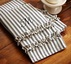 Ticking Stripe Ruffled Guest Towels, Set of 2 #potterybarn $19.00.