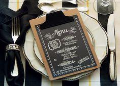 Entrada, prato principal e sobremesa devidamente anotados na prancheta | menu