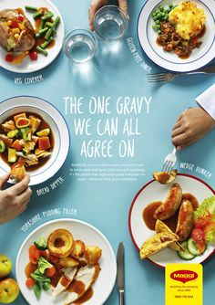Maggi (Nestlé) gravy ads, shot, comped and processed in the studio. Shot by James Murphy, art direction & design McCann London. Food Graphic Design, Food Poster Design, Food Menu Design, Restaurant Advertising, Restaurant Branding, Layout Design, Food Park, Maggi, Food Wallpaper