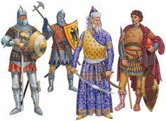 Aquí va una imagen de guardias bizantinos con el emperador Manuel II Paleólogo. El vestido del emperador está basado en un códice francés de esa época. Más en www.elgrancapitan.org