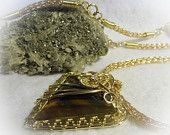 Blue Gold Brass Tiger Eye Wire Wrapped Viking Knit  Stone Necklace