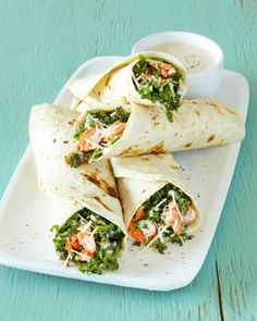 Chicken Caesar wraps have had their time to shine, but now we forge ahead with a well-deserved (and much-needed) update - Salmon and Kale Caesar Wraps. Salmon Recipes, Lunch Recipes, Dinner Recipes, Cooking Recipes, Healthy Recipes, Fast Recipes, Sandwich Recipes, Kitchen Recipes, Tortilla Recipes