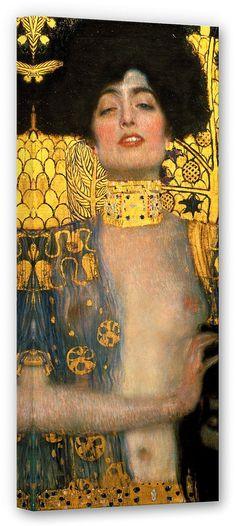 Die aus dem Alten Testament stammende Kriegsheldin Judith ist seit jeher bei Künstlern ein beliebtes Motiv. Als Symbol des Mutes und der Treue wird sie hier von Klimt als femme fatale dargestellt.  Artikeldetails:  Größe: (B/H): 40/100 cm,  Material/Qualität:  100% Baumwolle,  Qualitätshinweise:  Auf festes Canvas aus 100% Baumwolle gedruckt, Für viele Jahre Farbecht,  Wissenswertes:  Inkl. Auf...