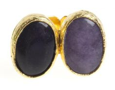 24K Yellow Gold Plated Oval Shape Chalcedony Amathyst Natural Two Stone Purple Tonal Adjustable Ring Modern Curated Collection,http://www.amazon.com/dp/B00JHM3144/ref=cm_sw_r_pi_dp_2axEtb16FBVNSKKB #Handmade #Jewelry #Vintage #Antique #Design #Gemstone #Natural #Stone #Adjustable #Ring #ChicBahar