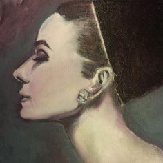 oil painting of Audrey Hepburn