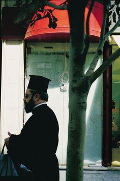 September Greek Orthodox priest on Ermou Street. Robert Doisneau, F 64, Orthodox Priest, Magnum Photos, Athens, Simple, Greece, World, Pictures