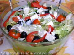 Tomatoes and cheese iceberg salad Difficulty: Low Time: Ingredients: iceberg salad cucumber cherry tomatoes -Telemea cheese or your favorite cow milk cheese hand of olive(remove. Cold Vegetable Salads, Vegetable Recipes, Iceberg Salad, Healthy Meal Prep, Healthy Recipes, Appetizer Salads, Appetizers, Tomato And Cheese, Tasty