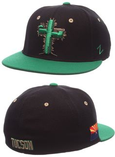 Tucson Saguaros Game Black hat with Green Bill Flex Fit Game Hat