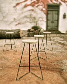 Love her stools. Industrial+Concrete+&+Steel+Indoor/Outdoor+Coleman+by+GretadeParry,+$349.00