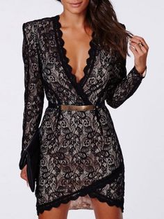 Sexy Plunging Neckline Long Sleeve Bodycon Lace Dress For Women
