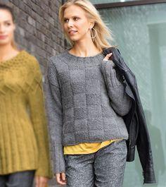 Серый джемпер с шахматным узором - схема вязания спицами. Вяжем Джемперы на Verena.ru Knitting Designs, Crochet Designs, Mohair Sweater, Men Sweater, Knitted Gloves, Outfit, Knitwear, Knitting Patterns, How To Wear