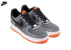 ce257bb9905f6 Mens Nike Air Force One Low Basketball Shoes Dark Grey Black Total Orange  488298-079
