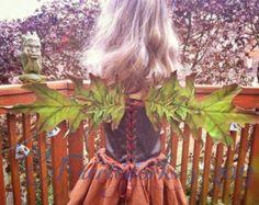 Leather Leaf Fairy Faery Wings LARP Cosplay Halloween Costume Fair Festival Maple Oak Leaf Wings ORANGe or GREEN