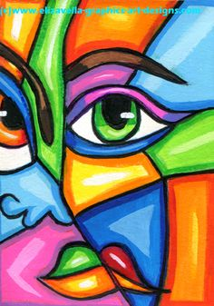 Its A Colorful World abstract face aceo painting