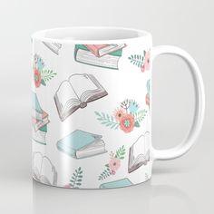 Books & Flowers Print Coffee Mug by Evie Seo - 11 oz Coffee Cups, Tea Cups, Book Flowers, Painted Mugs, Unique Coffee Mugs, Cute Mugs, Personalized Mugs, Mug Cup, Mug Designs