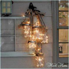 Christmas decor using mason jars & string lighting. #DIY  I like this for anytime.