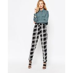Ganni Black And White Checked Trousers ($42) ❤ liked on Polyvore featuring pants, black, rayon pants, slim pants, print pants, white and black pants and black and white pants