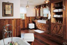 A Bathroom That Feels Like a Rustic Retreat - 30 Rustic Barn-Style House Ideas & Photos to Inspire You Rustic Bathroom Designs, Rustic Bathroom Vanities, Rustic Bathrooms, Bathroom Ideas, Stone Bathroom, Design Bathroom, Bathroom Cabinets, Barn Bathroom, Bathroom Things
