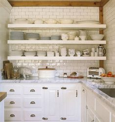 subway tile in the kitchenette