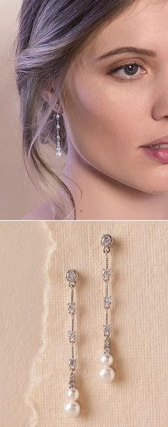 Add a sense of refinement to any look with this linear pair crafted of freshwater pearl and sparkling crystal.