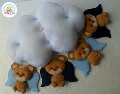 mobile de ursinhos *-* curso lembrançinhas e peças decorativas em feltro