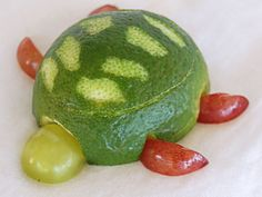 This  sea turtle  is made from limes and grapes.