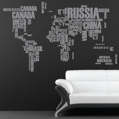 Mapa mundo com nomes dos países - Decoração em vinil Autocolante decorativo e Papel de parede - www.iconstore.pt