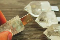 USB Flash Drive Natural Quartz 16GB by TallerDeObsidiana on Etsy