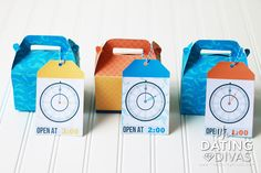 Husband or Boyfriend gift- a surprise for every hour of the day! Printable boxes and tags. Saving this for his birthday!!!