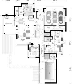 Projekt domu Willa z basenem Floor Plans, How To Plan, Floor Plan Drawing, House Floor Plans